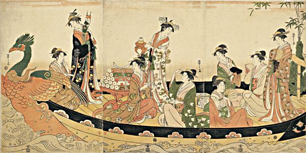 © Hosoda Eishi (1756-1829) Réunion de sept jeunes femmes symbolisant les sept dieux du bonheur 1793